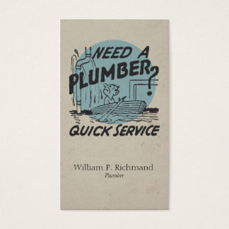 Vintage Plumber Boat Blue with Retro Circle Business Card