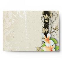 Vintage plumeria and ivy beige wedding envelope