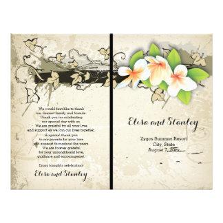 Vintage plumeria and ivy beige wedding program