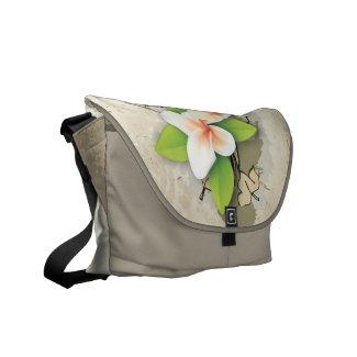 Vintage plumeria/frangipani and ivy beige messenger bag