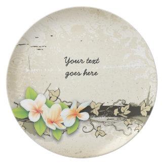 Vintage plumeria/frangipani and ivy beige plate plates