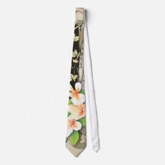 Vintage plumeria/frangipani and ivy beige tie
