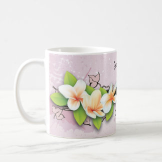 Vintage plumeria/frangipani and ivy pink mug
