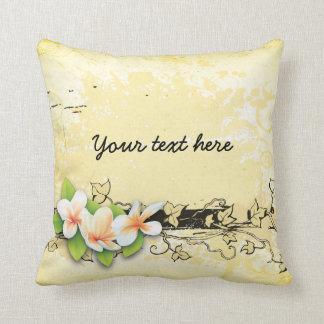 Vintage plumeria/frangipani and ivy yellow pillows