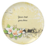 Vintage plumeria/frangipani and ivy yellow plate