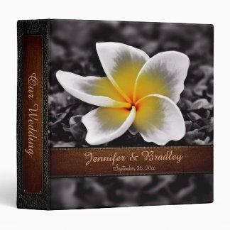 Vintage Plumeria Frangipani Flowers Wedding 3 Ring Binder