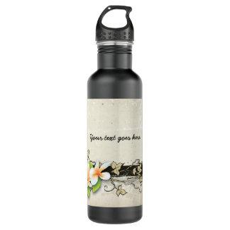 Vintage plumeria/frangipani & ivy beige bottle