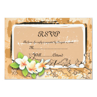 Vintage plumeria ivy orange white RSVP card