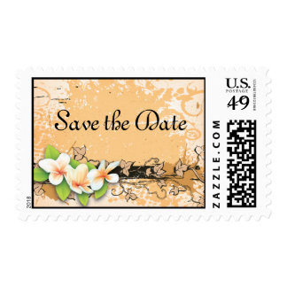 Vintage plumeria ivy orange white Save the Date Postage Stamps