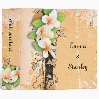 Vintage plumeria ivy orange white wedding binder