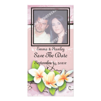 Vintage plumeria ivy pink white Save the Date Card