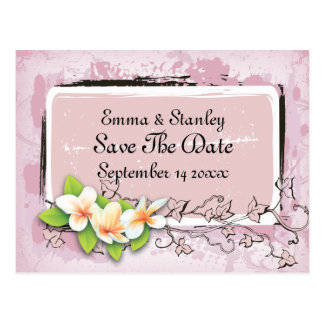 Vintage plumeria ivy pink white Save the Date Postcard