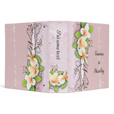 Vintage plumeria ivy pink white wedding binder
