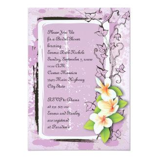 Vintage plumeria ivy purple white bridal shower card