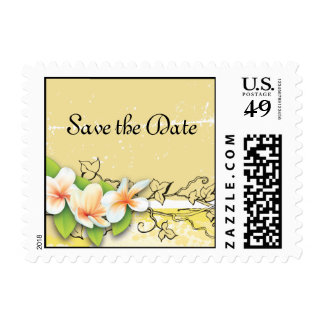 Vintage plumeria ivy yellow white Save the Date Postage Stamp