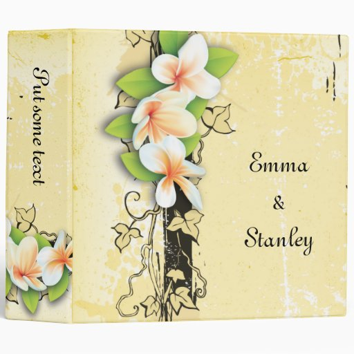 Vintage plumeria ivy yellow white wedding binder binder
