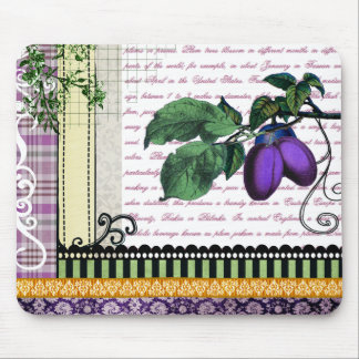Vintage Plums Fruit Collage Mouse Pads