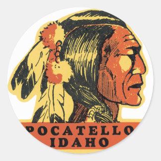 Vintage Pocatello Idaho Pegatina Redonda