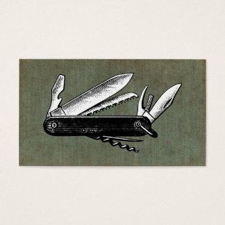 Vintage Pocket Knife Art Business Card