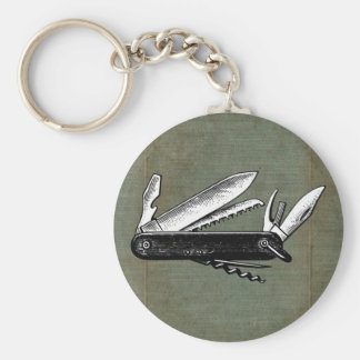 Vintage Pocket Knife Art Basic Round Button Keychain