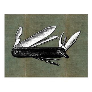 Vintage Pocket Knife Art Postcard