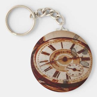 Vintage Pocket Watch and Key Basic Round Button Keychain