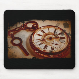 Vintage Pocket Watch and Key Mouse Pad