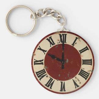 Vintage Pocket Watch Clock Face Shabby Distressed Basic Round Button Keychain