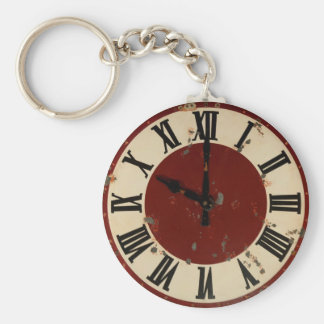 Vintage Pocket Watch Clock Face Shabby Distressed Keychain