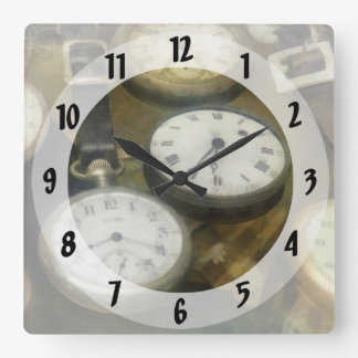 Vintage Pocket Watches Square Wall Clock