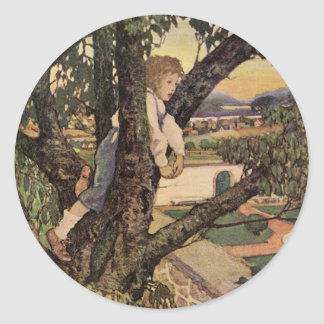 Vintage Poem, Foreign Land by Jessie Willcox Smith Classic Round Sticker