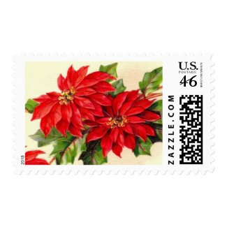 Vintage Poinsettia Christmas Postage Stamps stamp