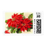 Vintage Poinsettia Christmas Postage Stamps<br><div class='desc'>Vintage Santa postage stamps for your Holiday cards. Look for the Matching Cards too!</div>