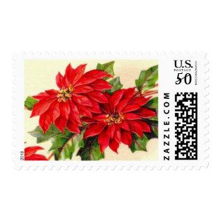 Vintage Poinsettia Christmas Postage Stamps at Zazzle