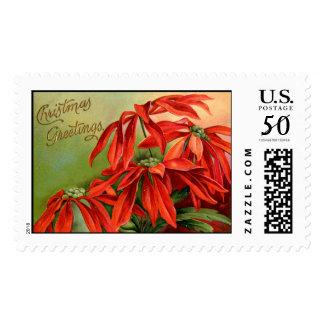 Vintage Poinsettia Christmas Stamps