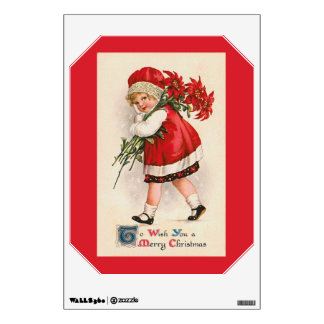 Vintage Poinsettia Girl Christmas Wall Decal
