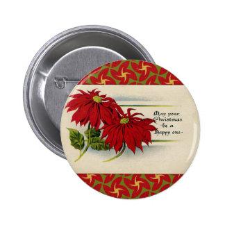 Vintage Poinsettia Greeting Button