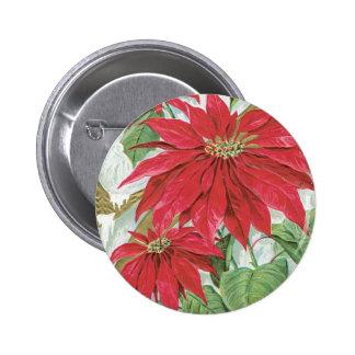 Vintage Poinsettia illustration. 2 Inch Round Button