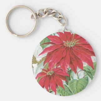 Vintage Poinsettia illustration. Keychain