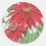 Vintage Poinsettia Illustration Stickers