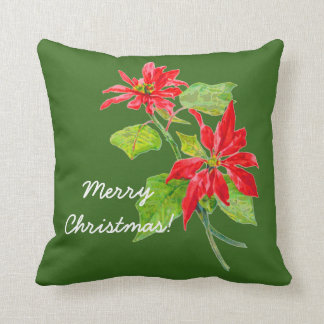 Vintage Poinsettia Merry Christmas Throw Pillow
