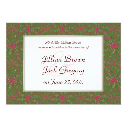 Vintage Poinsettia Pattern WEDDING Card