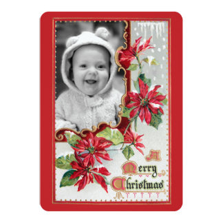 Vintage Poinsettias and Greeting Card