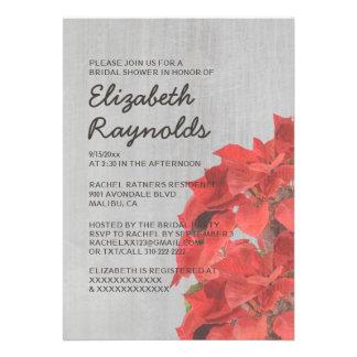 Vintage Poinsettias Bridal Shower Invitations Announcement