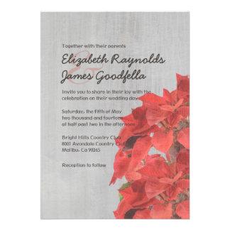 Vintage Poinsettias Wedding Invitations Cards