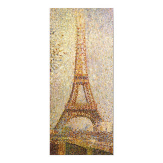 Vintage Pointillism Art, Eiffel Tower by Seurat 4x9.25 Paper Invitation Card