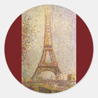 Vintage Pointillism Art, Eiffel Tower by Seurat Classic Round Sticker