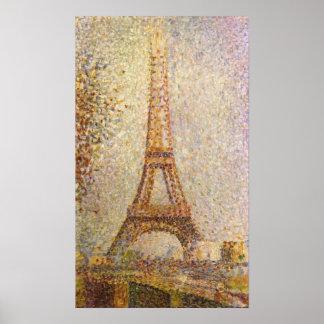 Vintage Pointillism Art, Eiffel Tower by Seurat Poster