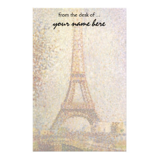 Vintage Pointillism Art, Eiffel Tower by Seurat Stationery