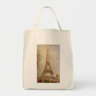 Vintage Pointillism Art, Eiffel Tower by Seurat Tote Bag